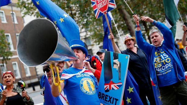 Anti-Brexit campaigners gather outside the cabinet office on Whitehall in London on Monday. Photograph: Getty Images