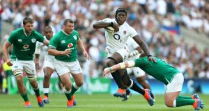 Maro Itoje scores England's fourth try during their heavy win over Ireland at Twickenham. Photograph: David Davies/PA