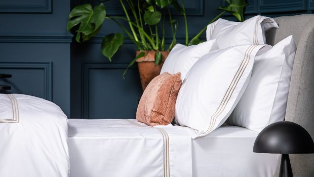 Egyptian cotton set, which comes in a navy or bone-colour, Foxford.