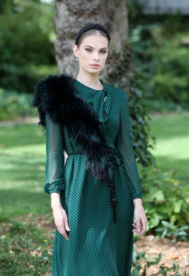 Louise Kennedy autumn-winter 2019: model Dioni Tabbers wears an Aubrey printed emerald and black silk dress, €1,295; and a Jersey belt with jet beaded tassels, €195. Photograph: Sasko Lazarov/Photocall Ireland