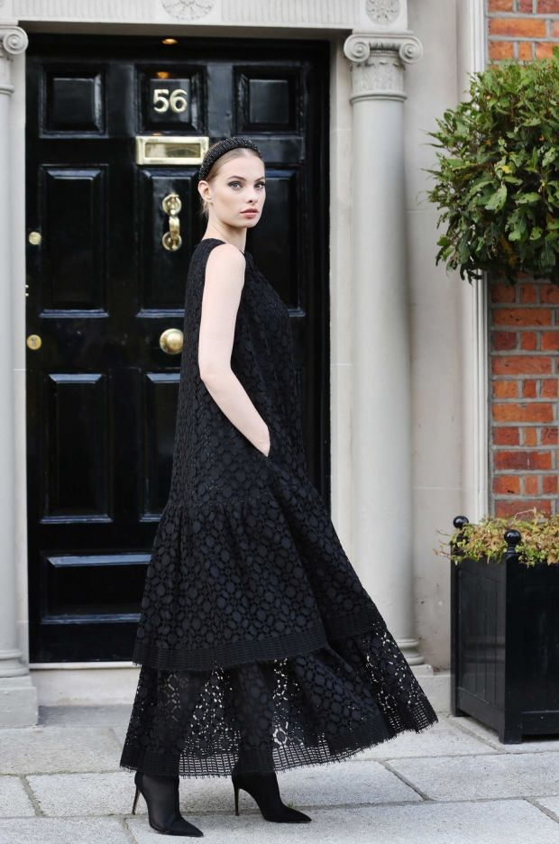 Louise Kennedy autumn-winter 2019: model Dioni Tabbers wears a Raquel geometric floor-length lace dress and Wren long beaded fringe corsage; prices on application. Photograph: Sasko Lazarov/Photocall Ireland