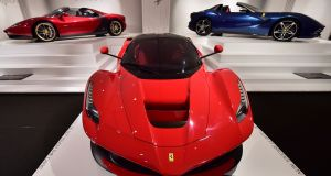 The Enzo museum is hugely impressive. You enter a vast, vaulted haul in which are, unsurprisingly, a troop of Ferrari's on display, like the LaFerrari (centre)