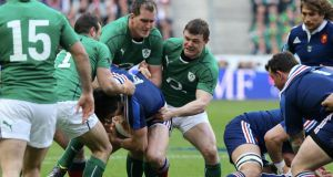 Devin Toner and Brian O'Driscoll in action for Ireland against France during the 2014 Six Nations game in Paris. Photograph: Xavier Laine/Getty Images