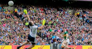Stephen Cluxton makes a stunning save to deny Kerry's Paul Murphy a goal. It was another game where I came away nearly in awe of Dublin's goalkeeper.  I honestly think he's still underrated by people. Photograph: Morgan Treacy/Inpho