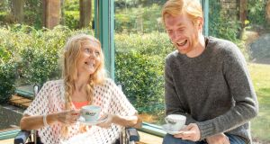 Actor Domhnall Gleeson is pictured with Norah Fagan at St Francis Hospice, Raheny, Dublin. Ireland's Biggest Coffee Morning for Hospice Together with Bewley's is the annual fundraiser for hospice and home care services nationwide and takes place this year on Thursday, September 19th. You choose which hospice and homecare group you want to support and ask your guests to donate what they can. For more information, see hospicecoffeemorning.ie, email info@hospicecoffeemorning.ie or call 1890 998 995. Photograph: Bryan Brophy/1IMAGE