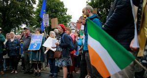 Some of the protesters outside the British embassy on Merrion Road, Dublin on Tuesday evening. Photograph: Nick Bradshaw/The Irish Times