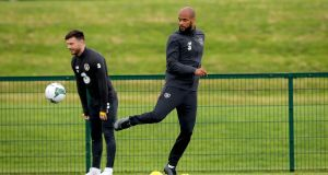 David McGoldrick at Republic of Ireland squad training on Monday: 'I want more and I feel good, I feel hungry and that's the main thing.' Photograph: Ryan Byrne/Inpho