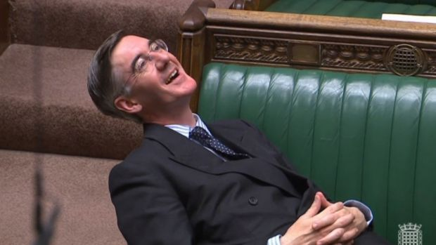 Jacob Rees-Mogg criticised for 'lounging languidly' during