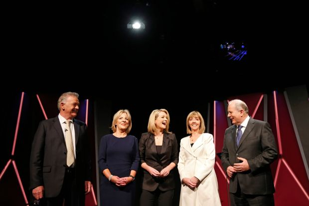 Presidential debate: Claire Byrne with Peter Casey, Liadh Ní Riada, Joan Freeman and Gavin Duffy, who were candidates in last year's election. Photograph: Nick Bradshaw
