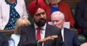 Tanmanjeet Singh Dhesi  speaking in the House of Commons on Wednesday. Photograph: AFP/Getty