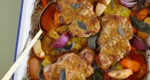 Pork chops with sage and apple.