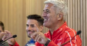 Switzerland's head coach Vladimir Petkovic at a  press conference at the Aviva stadium ahead of Thursday's Euro 2020 qualifier against the Republic of Ireland. Photograph:  Georgios Kefalas/EPA