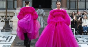 Models present creations from designer Molly Goddard during her 2019 autumn/ winter collection catwalk show at London Fashion Week at the Durbar Court, Foreign and Commonwealth Office, in London in February. Photograph: Niklas Halle/AFP/Getty Images