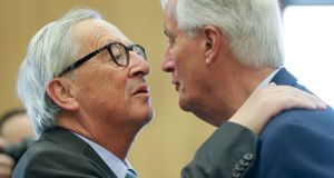 European Commission president Jean-Claude Juncker and the EU's chief Brexit negotiator Michel Barnier in Brussels on Wednesday. Photograph: Stephanie Lecocq/EPA