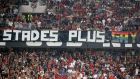 The Ligue 1 match between Nice and Marseille was halted for several minutes after fans displayed a homophobic banner. Photograph: Valery Hache/AFP/Getty Images