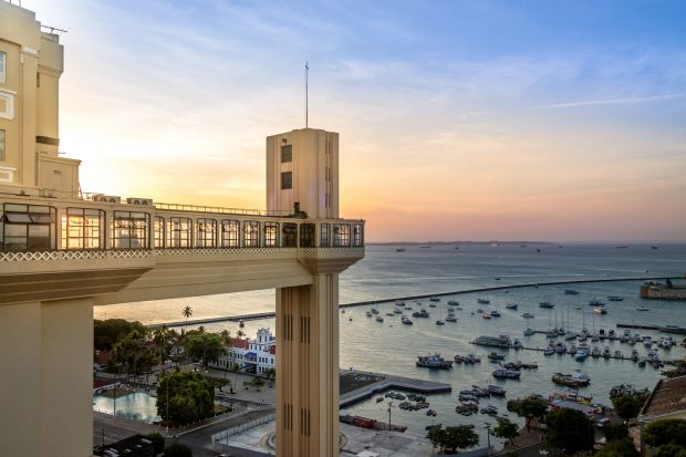Salvador, Brazil: The art deco Elevador Lacerda transports passengers and provides a view of the Bay of All Saints and the Pacific Ocean. Photograph: iStock
