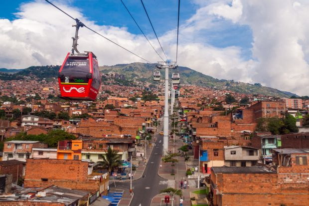 Medellin, Colombia: Metrocable cars connect residents of the mountainside favelas with the main city. Photograph: iStock