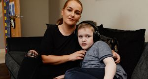 Nicola Cunningham and her son Kaiden at their home in Blanchardstown.  Photograph: Alan Betson