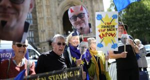 Anti-Brexit protesters outside the Houses of Parliament in Westminster, London. Photograph: Aaron Chown/PA Wire