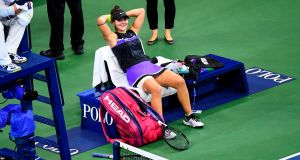 Bianca Andreescu of Canada reacts after winning her quarter-final at the US Open. Photograph: Getty Images