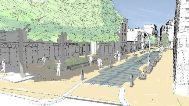 Artist's impression of the proposed Liffey Street plaza