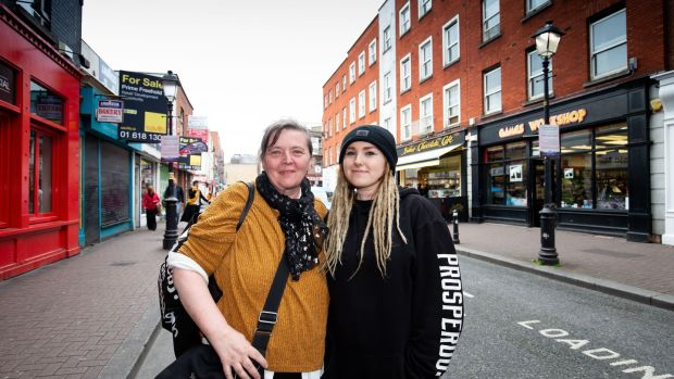 Margaret Naughter and her daughter Sarah Naughter on Liffey Street Lower, in Dublin. Photograph: Tom Honan/The Irish Times