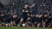 TJ Perenara leads the  New Zealand  haka before the game against Ireland at the Aviva Stadium last November. Photograph: Billy Stickland/Inpho