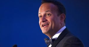 Taoiseach Leo Varadkar told the British-Irish Chamber dinner some checks on goods and live animals entering the Republic would take place 'near the Border' in the event of a no-deal Brexit. Photograph: Dave Meehan