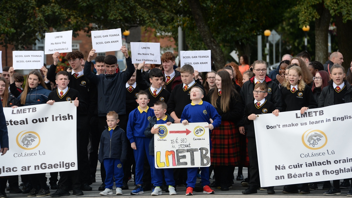Students stage walkout over lack of subjects being taught through Irish