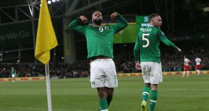 Ireland's David McGoldrick celebrates scoring his side's equaliser during the Euro 2020 qualifier against Switzerland. Photo: Liam McBurney/PA Wire