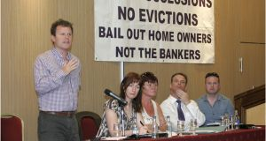A protest meeting over repossessions in 2011. According to Standard & Poor's, the legal process for repossession can typically take as long as 42 months in Ireland. File photograph: The Irish Times