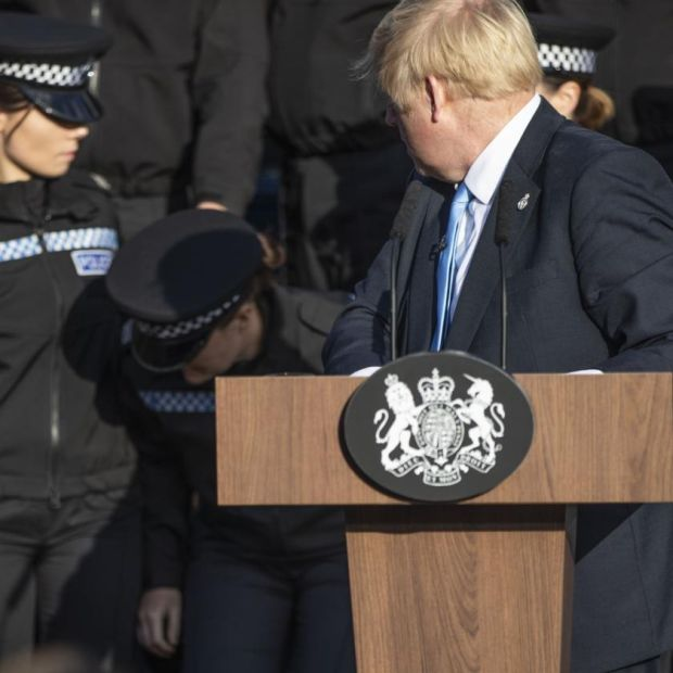 Brexit battle: by the time Boris Johnson finished his speech in Wakefield one of the police cadets behind him had fainted. Photograph: Danny Lawson/Pool/Getty