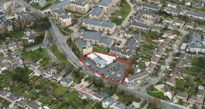 An aerial view of the Goatstown Road site. The property is zoned for residential development.