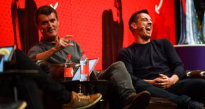 Roy Keane and Gary Neville at an event at the Bord Gáis Theatre in Dublin. Photo: David Fitzgerald/Sportsfile