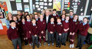 Dr Gil Botvin with sixth class pupils in St Michael's Primary School, Ballyfermot, to see the implementation of his Botvin LifeSkills programme. Photograph:  Crispin Rodwell