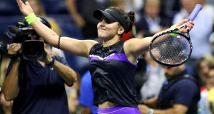 Bianca Andreescu of Canada after winning her Women's Singles semi-final match against Belinda Bencic of Switzerland in the US Open at the Arthur Ashe stadium in New York on Friday. Photograph:  Clive Brunskill/Getty Images