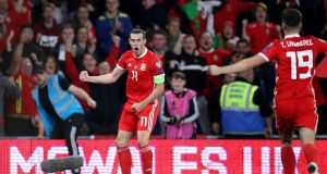 Wales' Gareth Bale celebrates scoring the winner during their Euro 2020 qualifying victory over Azerbaijan. Photo: Nick Potts/PA Wire
