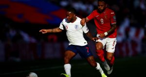 Raheem Sterling of England battles for possession with Wanderson of Bulgaria  at Wembley. Photograph: Julian Finney/Getty Images