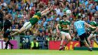 Dublin's Diarmuid Connolly shooting for a point  late in the All–Ireland final. Photograph:  James Crombie/Inpho