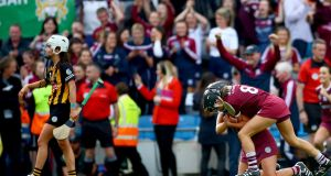 Galway's Niamh Kilkenny and Aoife Donohue celebrate at the final whistle as they won the All-Ireland senior camogie championship title. Photo: James Crombie/Inpho