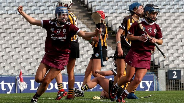 Galway's Niamh Hanniffy celebrates scoring a goal during the All-Ireland senior camogie final against Kilkenny. Photo: Bryan Keane/Inpho