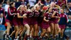 Galway players celebrating at the final whistle of the senior camogie All-Ireland  final in Croke Park. Photograph: James Crombie/Inpho