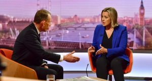 Amber Rudd, who has resigned as work and pensions secretary in protest at the government's approach to Brexit,  appearing on the BBC current affairs programme The Andrew Marr Show on Sunday. Photograph: Jeff Overs/BBC/PA Wire