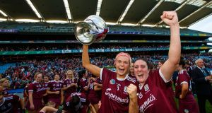 Galway's Sarah Dervan and Ailish O'Reilly after their win over Kilkenny in the senior camogie All-Ireland final in Croke Park. Photograph: James Crombie/Inpho