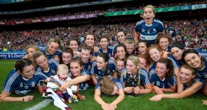 Westmeath celebrate after defeating Galway in the All-Ireland intermediate camogie championship final at  Croke Park. Photograph: Tommy Dickson/Inpho