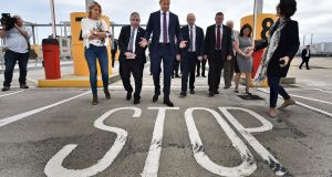 The Taoiseach, Leo Varadkar, inspects the newly installed infrastructure checkpoints at Dublin Port in anticipation of no-deal Brexit.  Photograph: Charles McQuillan/Getty Images