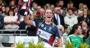 Westmeath's Mairéad McCormack lifts the Jack McGrath Cup after their comeback victory over Galway at Croke Park. Photograph: Bryan Keane/Inpho