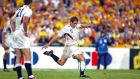 Jonny Wilkinson of England kicks the winning drop-goal against Australia in the 2003 Rugby World Cup final. Photograph: Getty Images