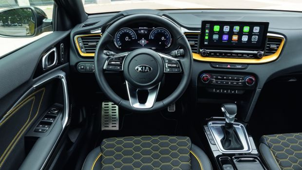 The Kia XCeed's cabin is airy with good head, leg and shoulder room. There is a new contrasting stitching seat option as part of a yellow colour pack.