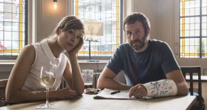 State of the Union: Rosamund Pike and Chris O'Dowd meet before marriage-counselling sessions to lob sotto-voce criticisms and recriminations over a pint of bitter and a glass of white wine. Photograph: Confession/BBC